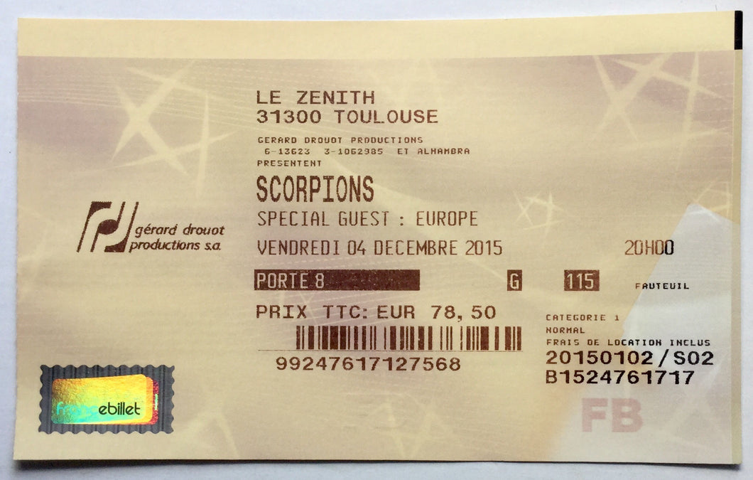 Scorpions Europe Original Used Concert Ticket Le Zenith Toulouse 4th Dec 2015