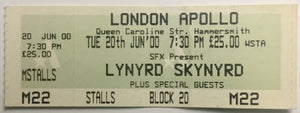 Lynyrd Skynyrd Original Used Concert Ticket London Apollo 20th Jun 2000