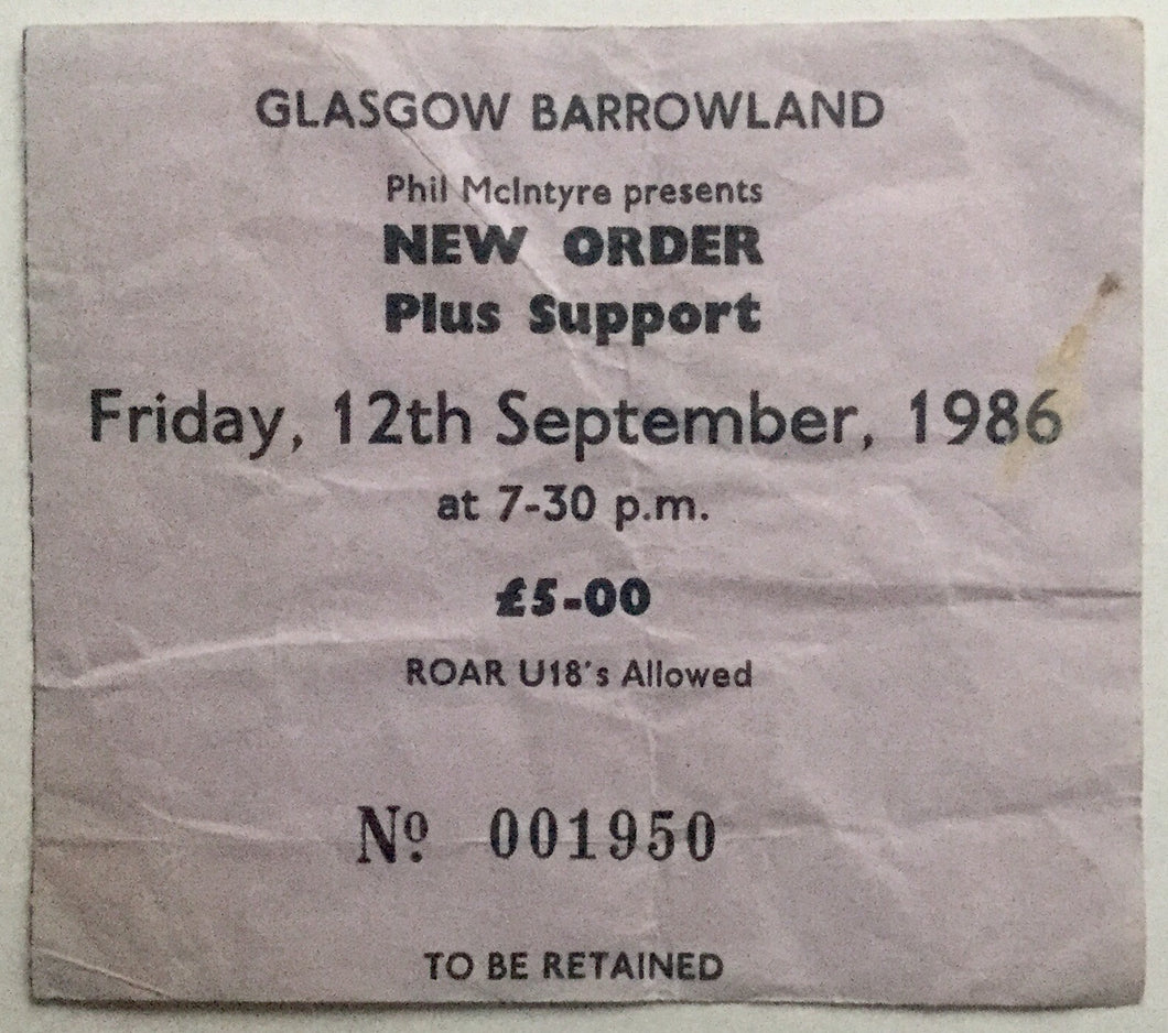 New Order Original Used Concert Ticket Barrowland Glasgow 12th Sept 1986