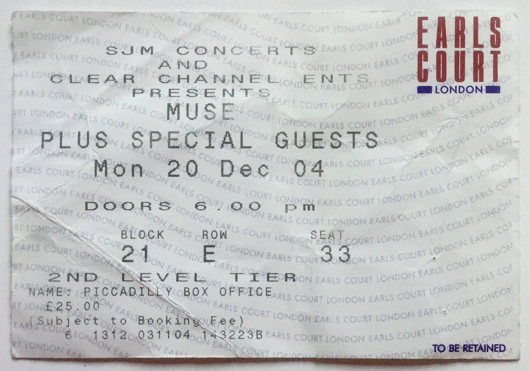 Muse Original Used Concert Ticket Earls Court London 20th Dec 2004