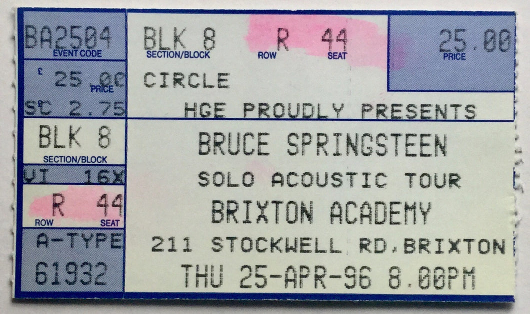 Bruce Springsteen Original Used Concert Ticket Brixton Academy London 25th Apr 1996