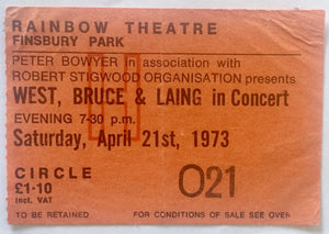 West Bruce & Laing Original Used Concert Ticket Rainbow Theatre London 21st April 1973