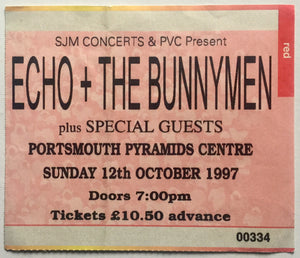 Echo & the Bunnymen Original Used Concert Ticket Portsmouth Pyramids Centre 12th Oct 1997