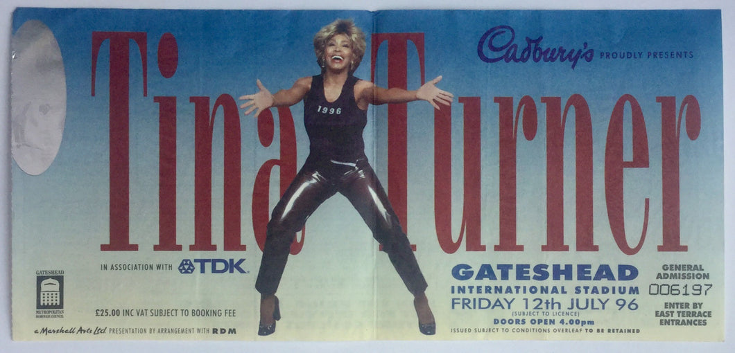 Tina Turner Original Concert Ticket Gateshead Stadium 12th July 1996