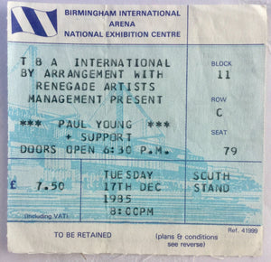 Paul Young Original Used Concert Ticket NEC Arena Birmingham 17th Dec 1985