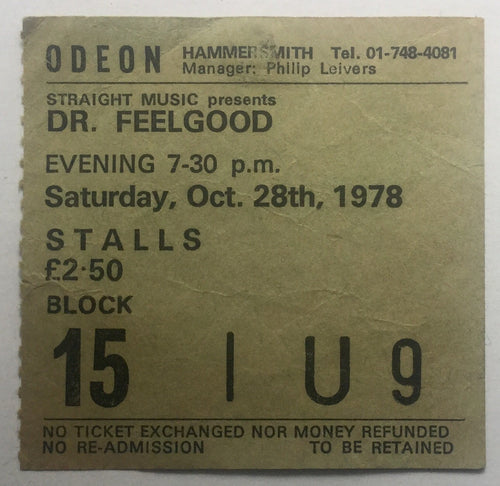 Dr Feelgood Original Used Concert Ticket Hammersmith Odeon London 28th Oct 1978