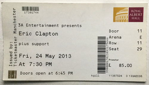 Eric Clapton Original Used Concert Ticket Royal Albert Hall London 24th May 2013