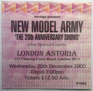 New Model Army Original Used Concert Ticket London Astoria 20th Dec 2000