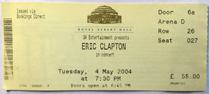 Eric Clapton Original Used Concert Ticket Royal Albert Hall 4th May 2004