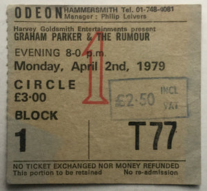 Graham Parker Original Used Concert Ticket Hammersmith Odeon London 2nd April 1979