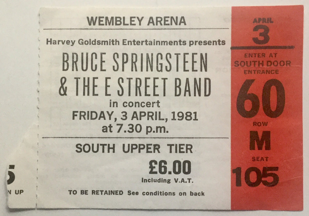 Bruce Springsteen Original Used Concert Ticket Wembley Arena London 3rd April 1981