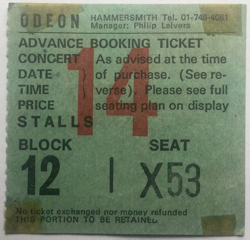 Eric Clapton Original Used Concert Ticket Hammersmith Odeon London 28th Apr 1977