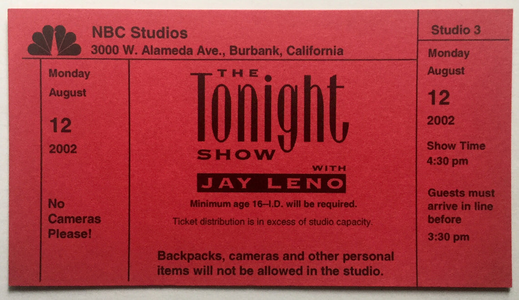 David Bowie Moby Original Complete Concert Ticket NBC Studios Burbank 12th Aug 2002