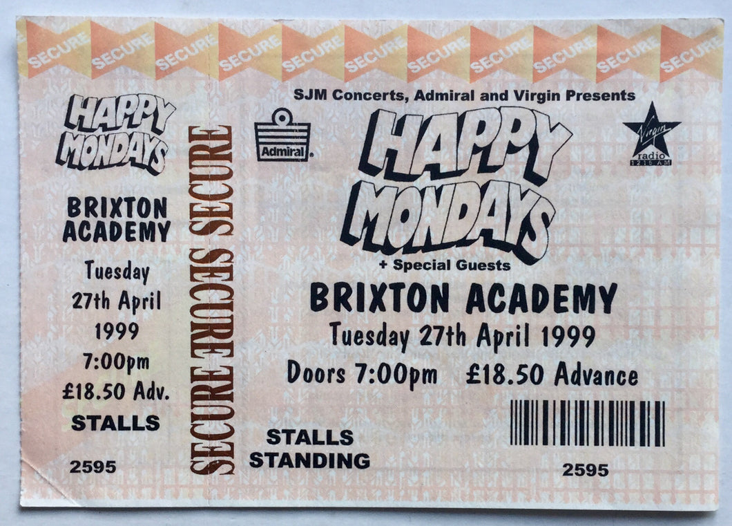 Happy Mondays Original Unused Concert Ticket Brixton Academy London 27th Apr 1999