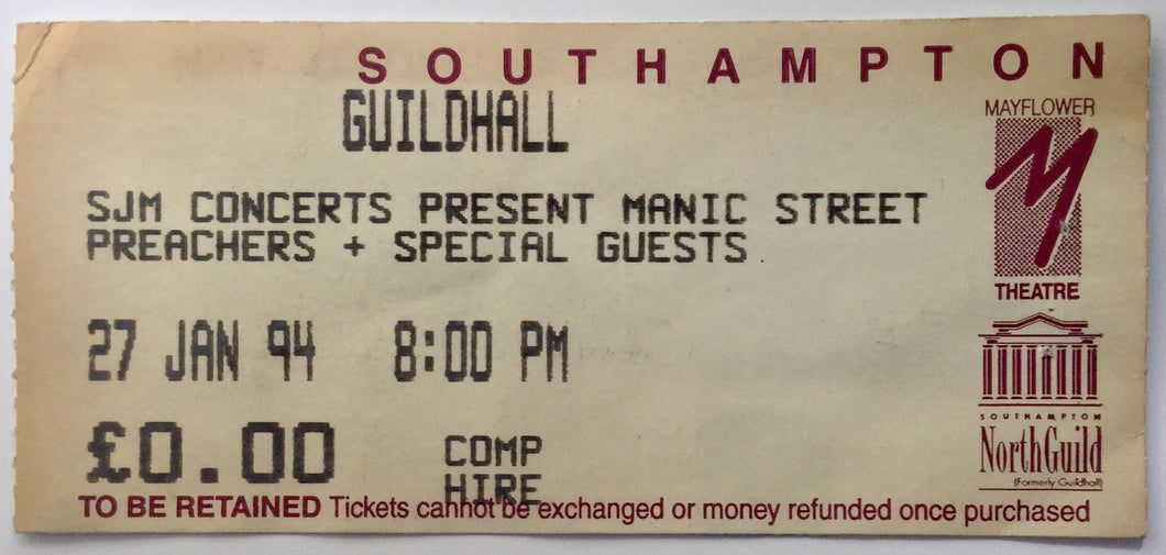 Manic Street Preachers Original Used Concert Ticket Southampton Guildhall 27th Jan 1994