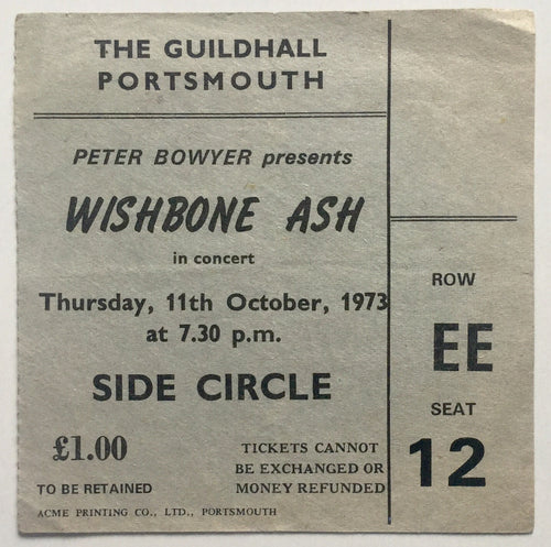 Wishbone Ash Original Used Concert Ticket Guildhall Portsmouth 11th Oct 1973
