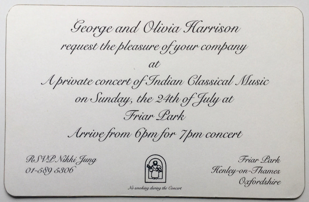 Beatles George Harrison Original Concert Party Invitation Ticket Friar Park Henley on Thames 24th July 1994