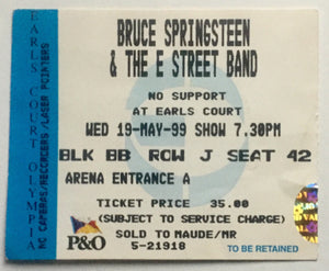 Bruce Springsteen Original Used Concert Ticket Earls Court London 19th May 1999