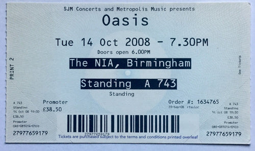 Oasis Original Used Concert Ticket NIA Birmingham 14 Oct 2008