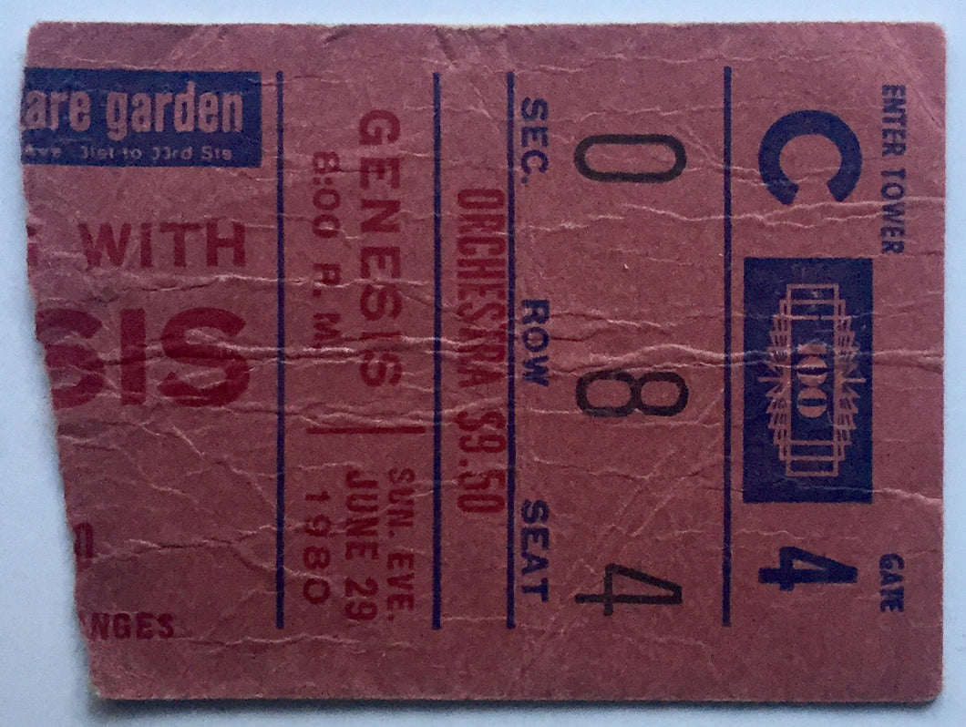 Genesis Concert Ticket Madison Square Garden New York 29th June 1980