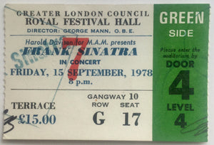 Frank Sinatra Original Used Concert Ticket Royal Festival Hall London 15th Sept 1978