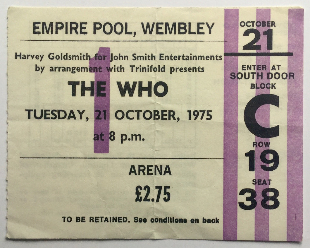 Who Original Used Concert Ticket Empire Pool Wembley London 21st Oct 1975