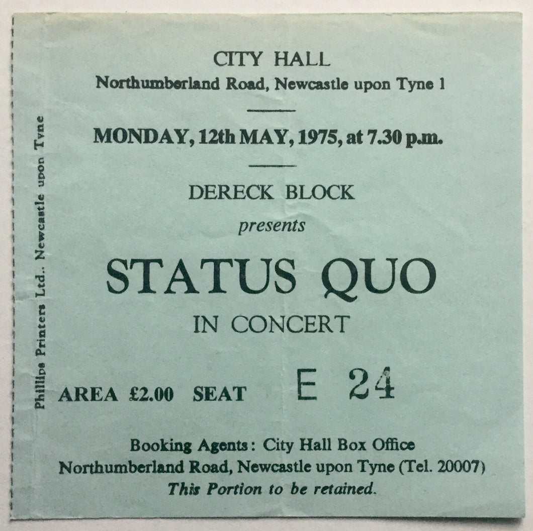 Status Quo Original Used Concert Ticket City Hall Newcastle 12th May 1975