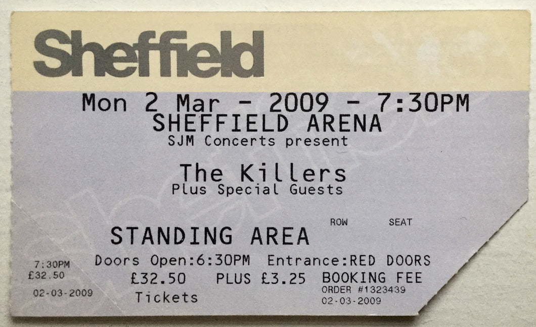 Killers Original Used Concert Ticket Sheffield Arena 2nd March 2009