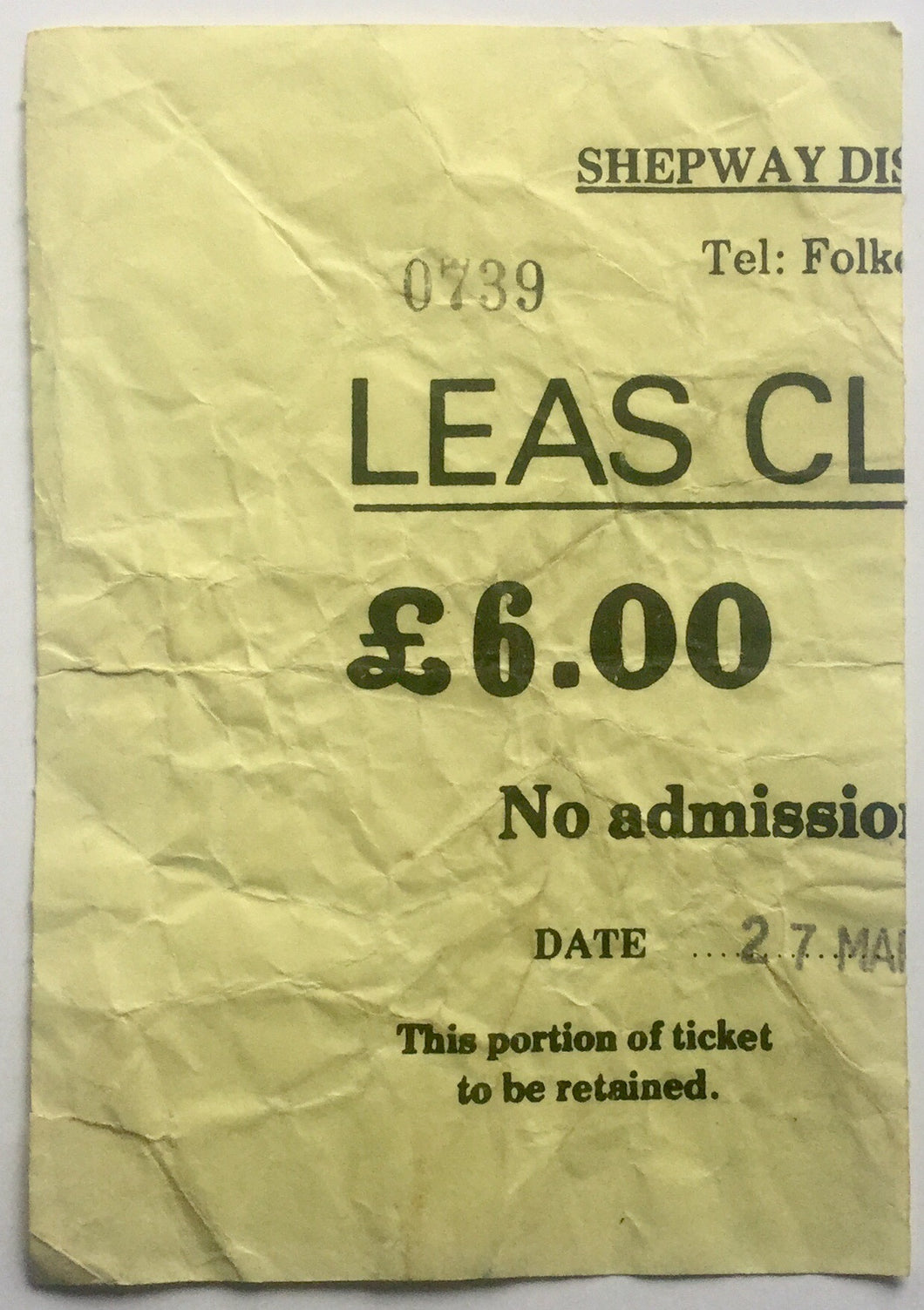 Stranglers Original Used Concert Ticket Leas Cliff Hall Folkestone 27th March 1987