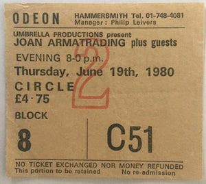 Joan Armatrading Original Used Concert Ticket Hammersmith Odeon London 19th June 1980