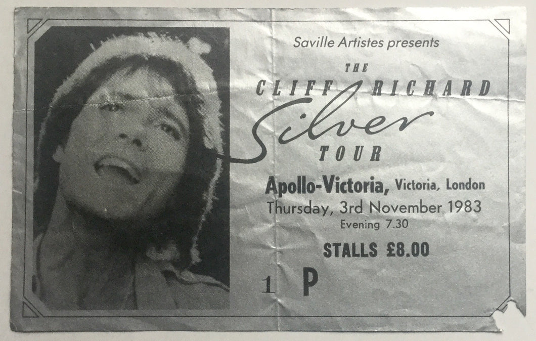 Cliff Richard Original Used Concert Ticket Apollo Victoria London 1983