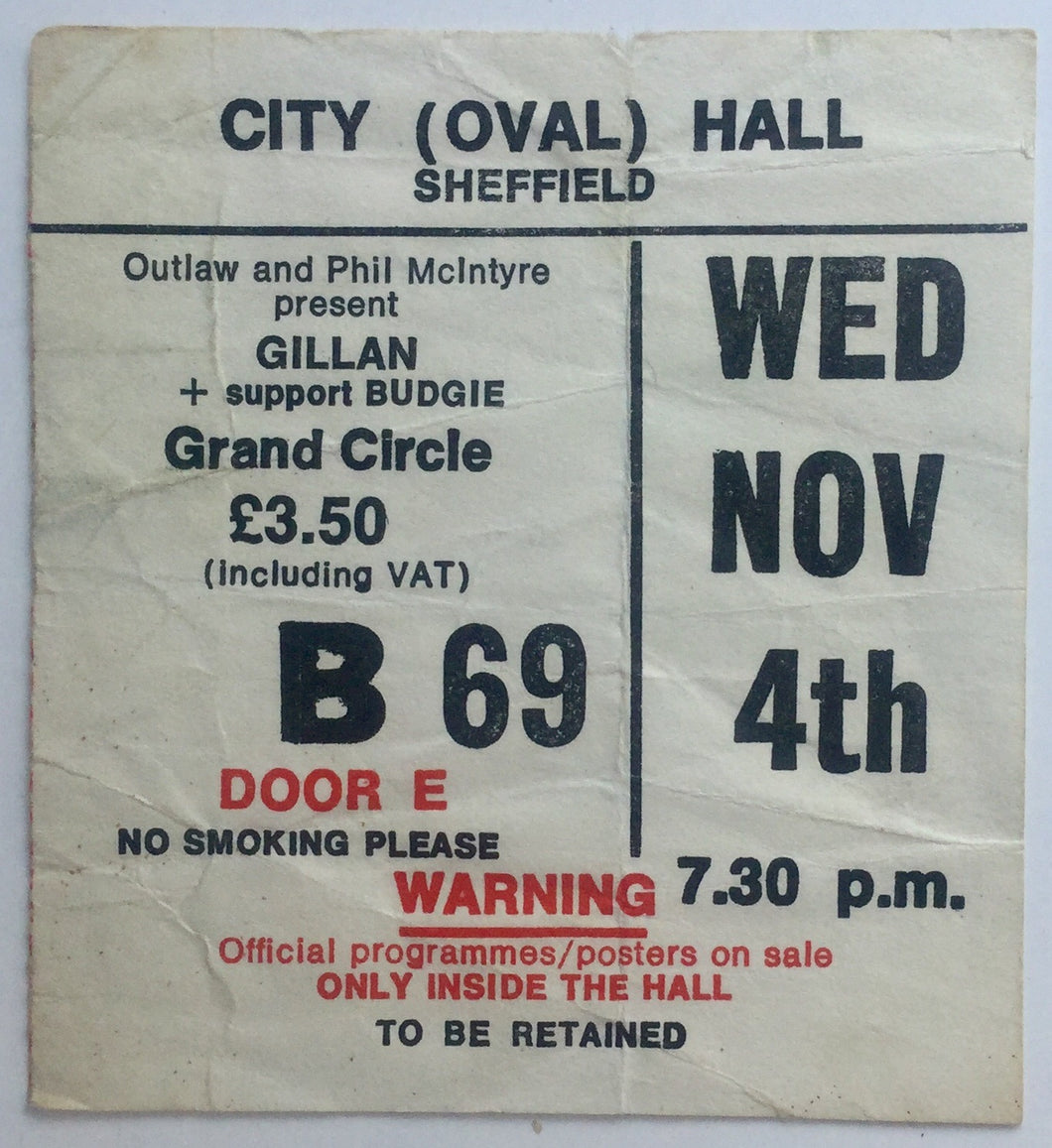 Ian Gillan Original Used Ticket City Hall Sheffield 4th Nov 1981