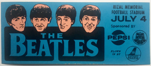 Beatles Original Blue Unused Concert Promo Advertising Sticker Rizal Memorial Football Stadium Manila 4th July 1966
