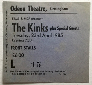Kinks Original Used Concert Ticket Odeon Theatre Birmingham 23rd Apr 1985