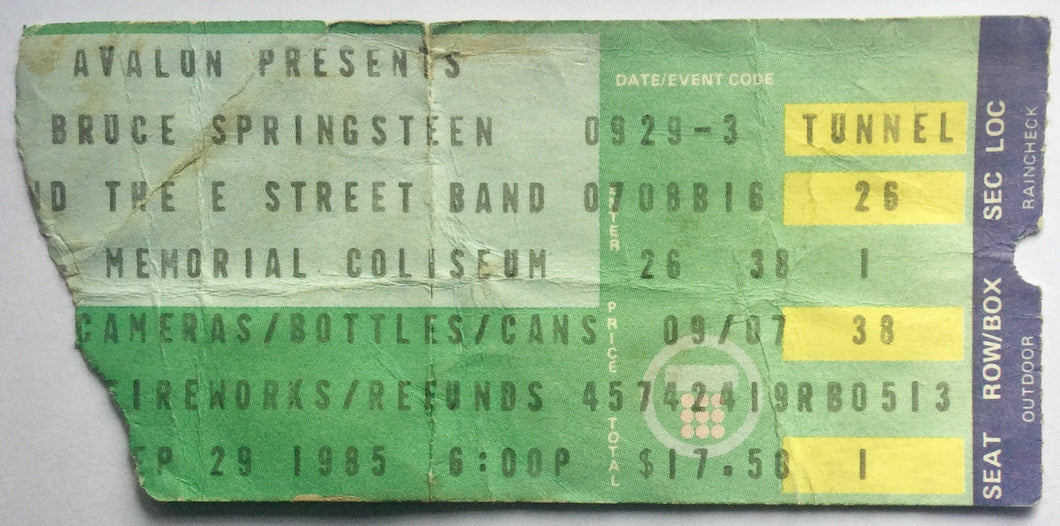 Bruce Springsteen Original Used Concert Ticket Memorial Coliseum Los Angeles 29th Sept 1985