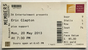 Eric Clapton Original Used Concert Ticket Royal Albert Hall London 20th May 2013