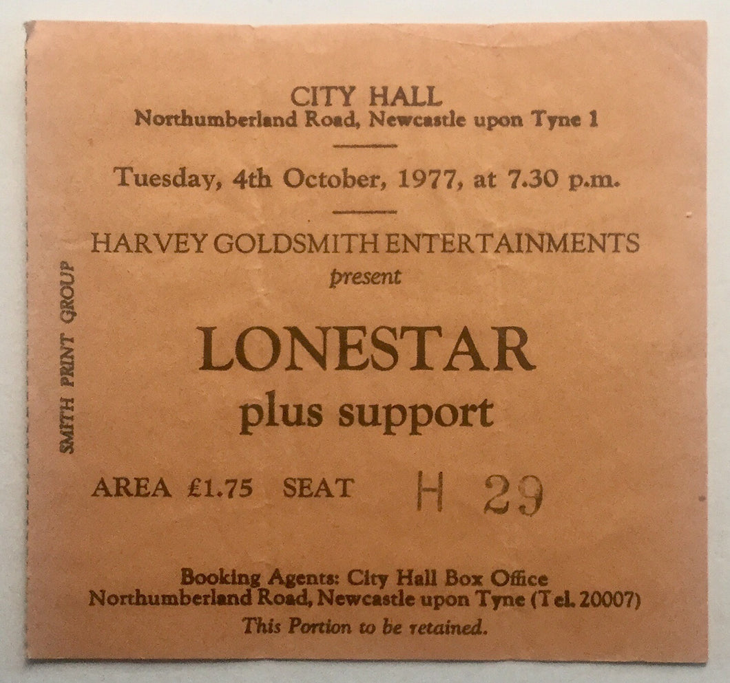 Lonestar Original Used Concert Ticket City Hall Newcastle 4th Oct 1977