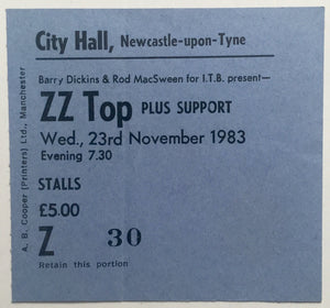 ZZ Top Original Used Concert Ticket City Hall Newcastle 23rd Nov 1983
