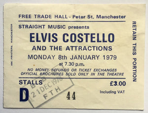 Elvis Costello Original Used Concert Ticket Free Trade Hall Manchester 8th Jan 1979