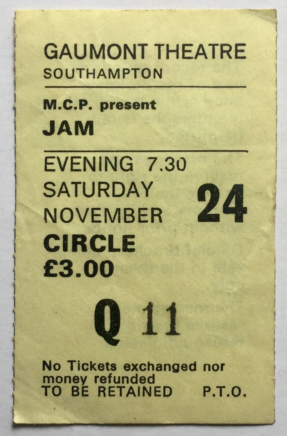 Jam Original Used Concert Ticket Gaumont Theatre Southampton 24th Nov 1979