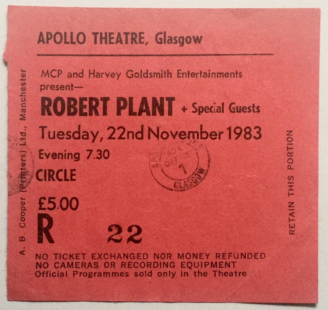 Led Zeppelin Robert Plant Original Used Concert Ticket Apollo Theatre Glasgow 22nd November 1983