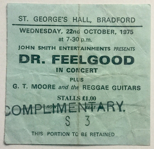 Dr Feelgood Original Used Concert Ticket St. George's Hall Bradford 22nd Oct 1975