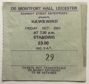 Hawkwind Original Used Concert Ticket  De Montfort Hall Leicester 24th Oct 1980