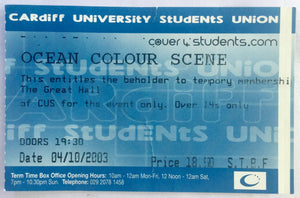 Ocean Colour Scene Original Concert Ticket Cardiff University 4th Oct 2003