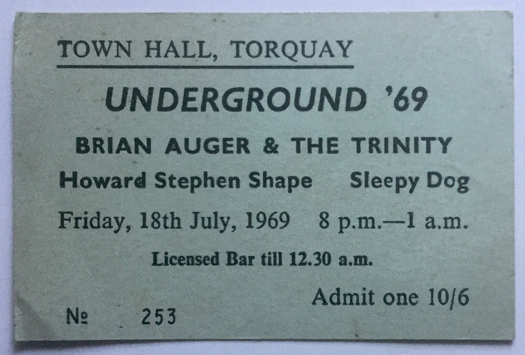 Brian Auger & The Trinity Original Concert Ticket Town Hall Torquay 18th July 1969