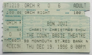 Bon Jovi Original Used Concert Ticket Count Basie Theatre Red Bank 19th Dec 1996