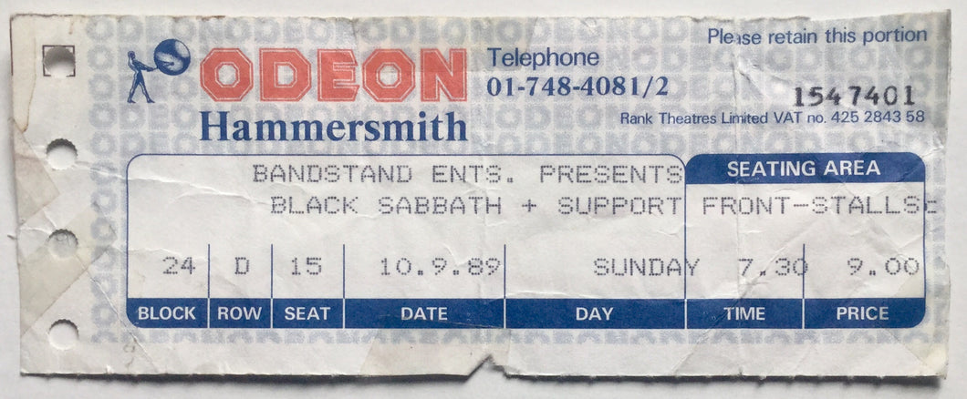 Black Sabbath Original Used Concert Ticket Hammersmith Odeon London 10th Sept 1989