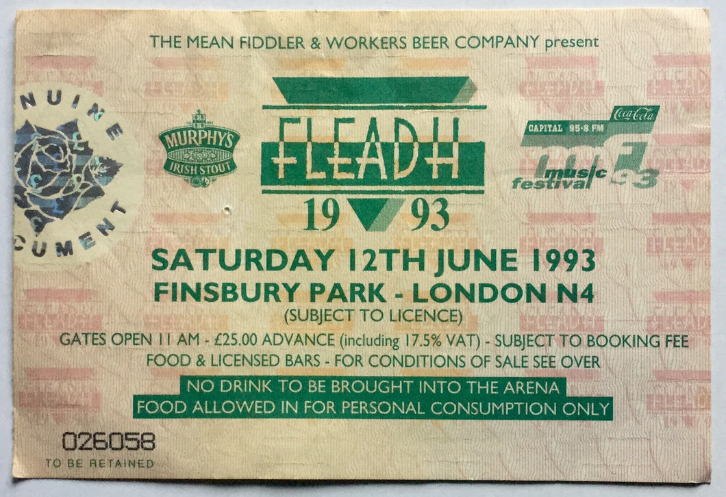 Bob Dylan Kirsty MacColl Original Used Concert Ticket FLEADH Festival Finsbury Park London 12th June 1993