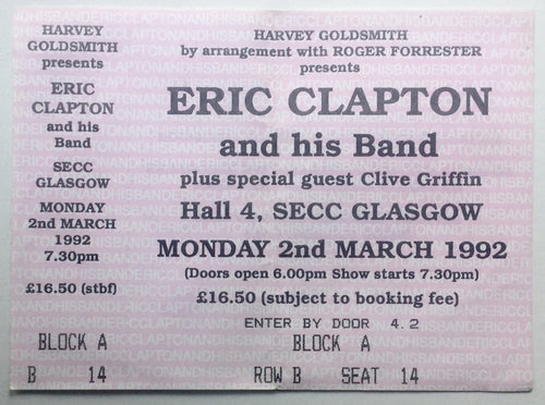 Eric Clapton Original Used Concert Ticket SECC Glasgow 2nd Mar 1992