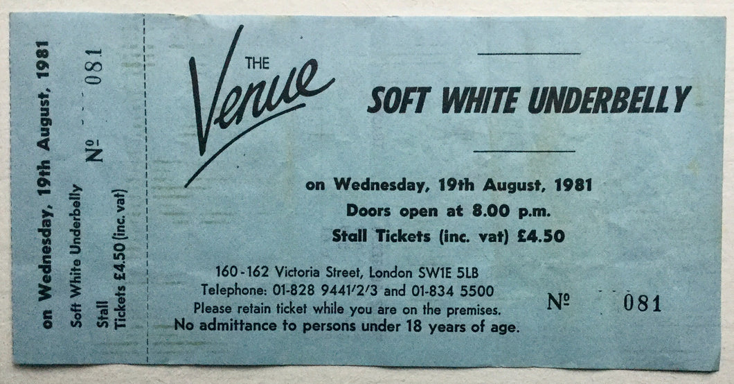 Blue Oyster Cult Soft White Underbelly Original Unused Concert Ticket Venue London 1981